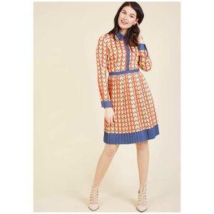 ModCloth Colorful Chevron Accordion Pleated Dress